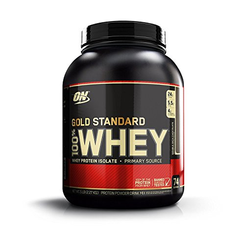Optimum nutrition gold standard 100% whey protein isolate powder supplement