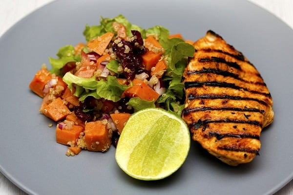grilled chicken quinoa salad grain lemon cheap high protein meal