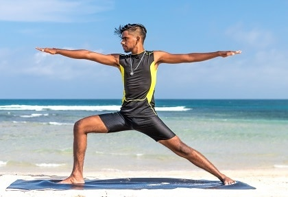 yoga warrior pose lunge position increases flexibility