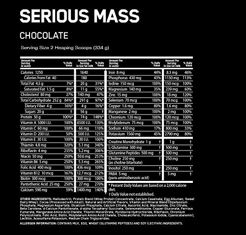 serious mass chocolate serving size calories nutrients ingredients what's in mass gainer