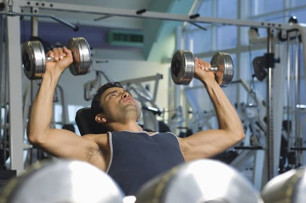 Bench press variants dumbbells keep even symmetrical