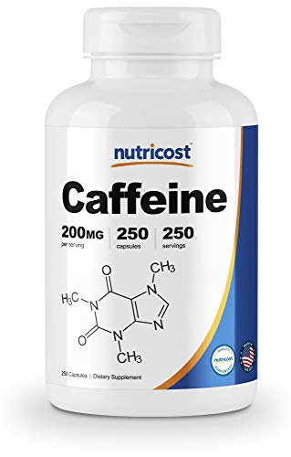 Nutricost caffeine supplement pill 200 mg pure energy