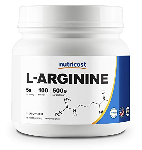 L-arginine unflavored powder nutricost dietary workout fitness supplement