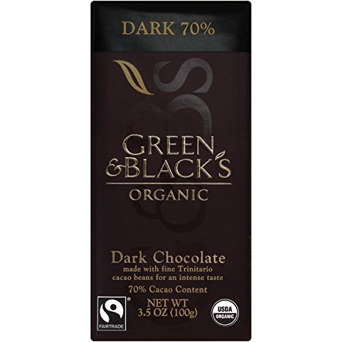 Green & Black's organic fair trade dark chocolate bar with theobromine