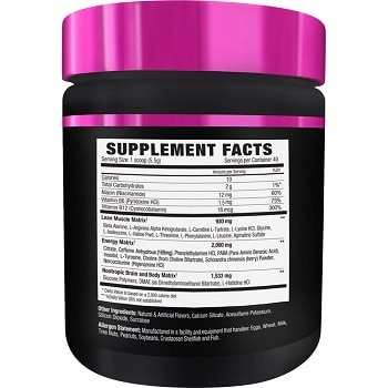 NLA Uplift cherry flavor lean muscle energy nootropic brain and body matrix ingredients